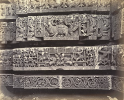Views in Mysore. Ruined temple of Hallabeed [Hoysalesvara Temple, Halebid]. Detail of carving on base of west face